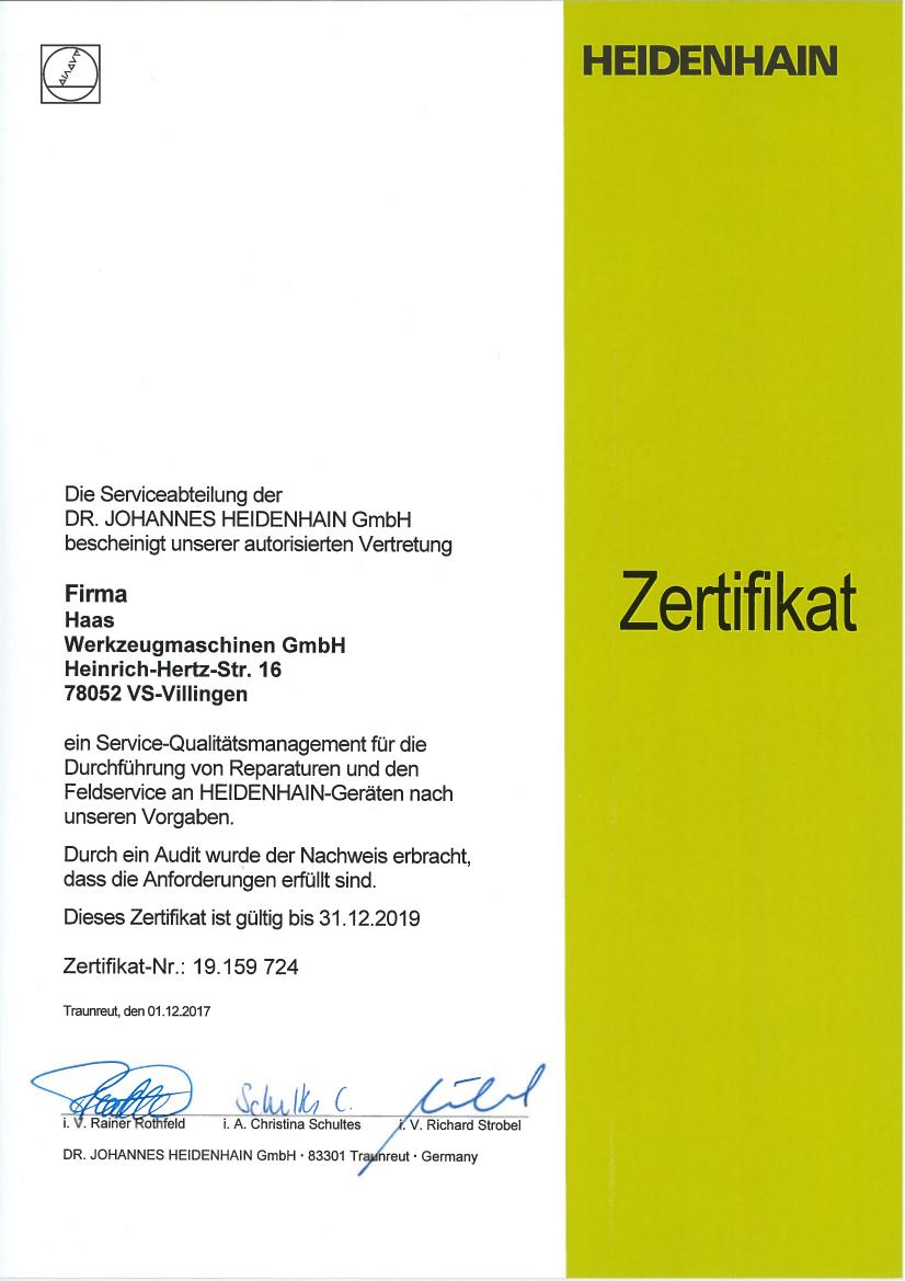 HEIDENHAIN-Zertifikat 2018